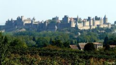 View of the fortifications of Carcassonne