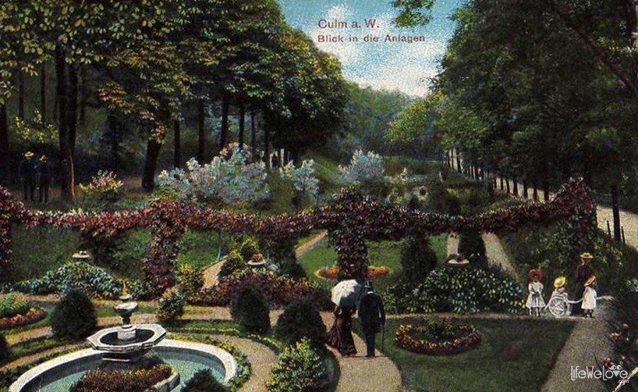 Chełmno - stara pocztówka miejskiego parku