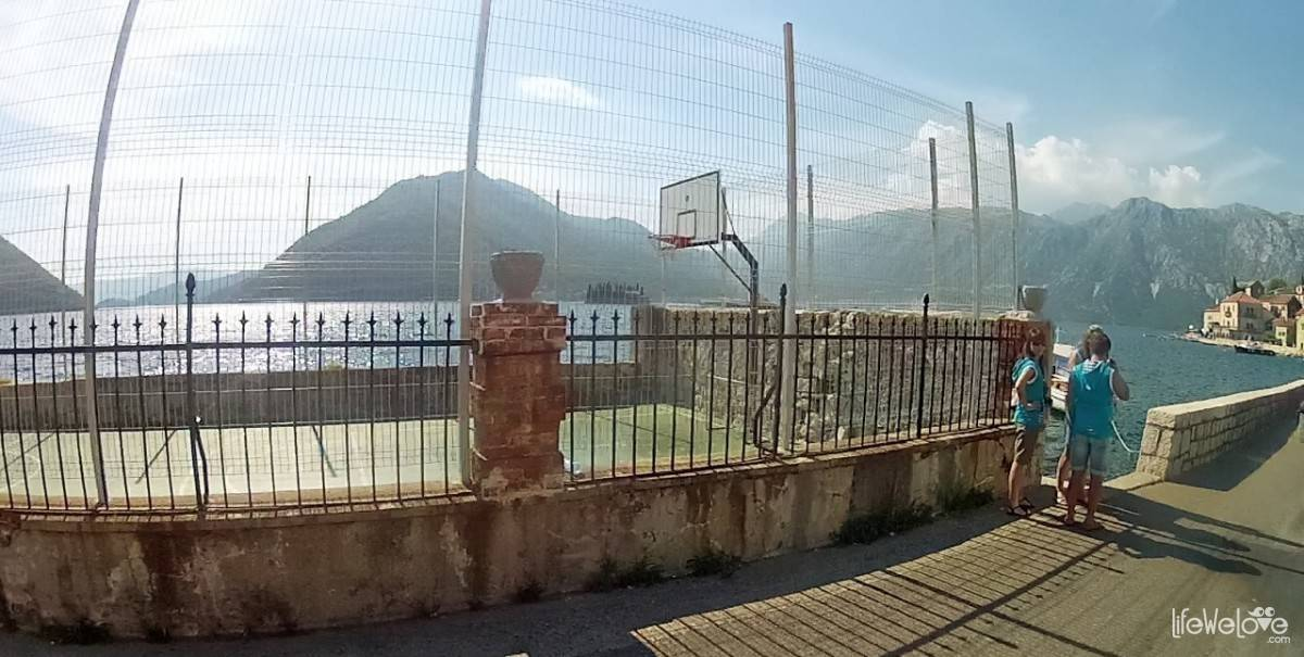 The basketball court in Kotor.