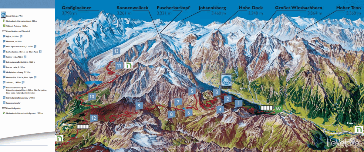 Map of Grossglockner and attractions along the way