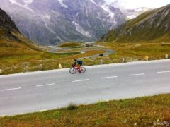 Cyclist on the Grossglockner Alpine Road