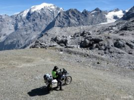 Stelvio Pass on a motorcycle