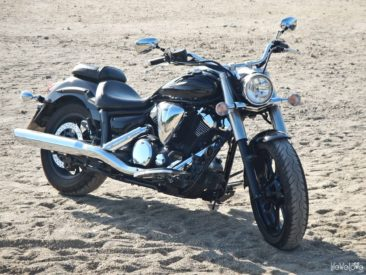 A motorcycle at the beach