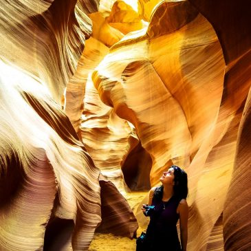 On the path of the water. Spectacular maze of Antelope Canyon