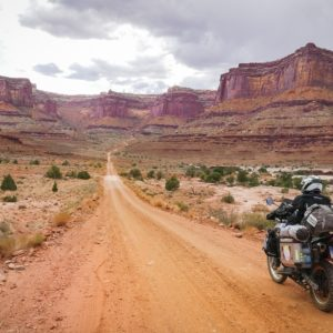 White Rim Road on a motorcycle
