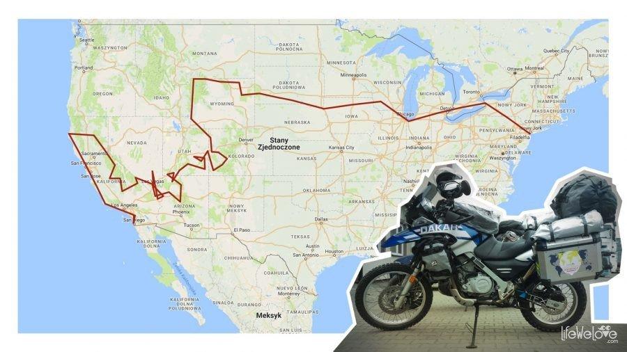 Trasa motocyklem przez USA