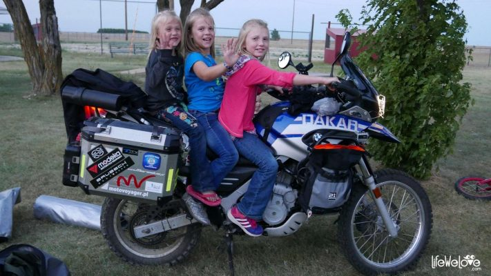 Little girls on motorbike