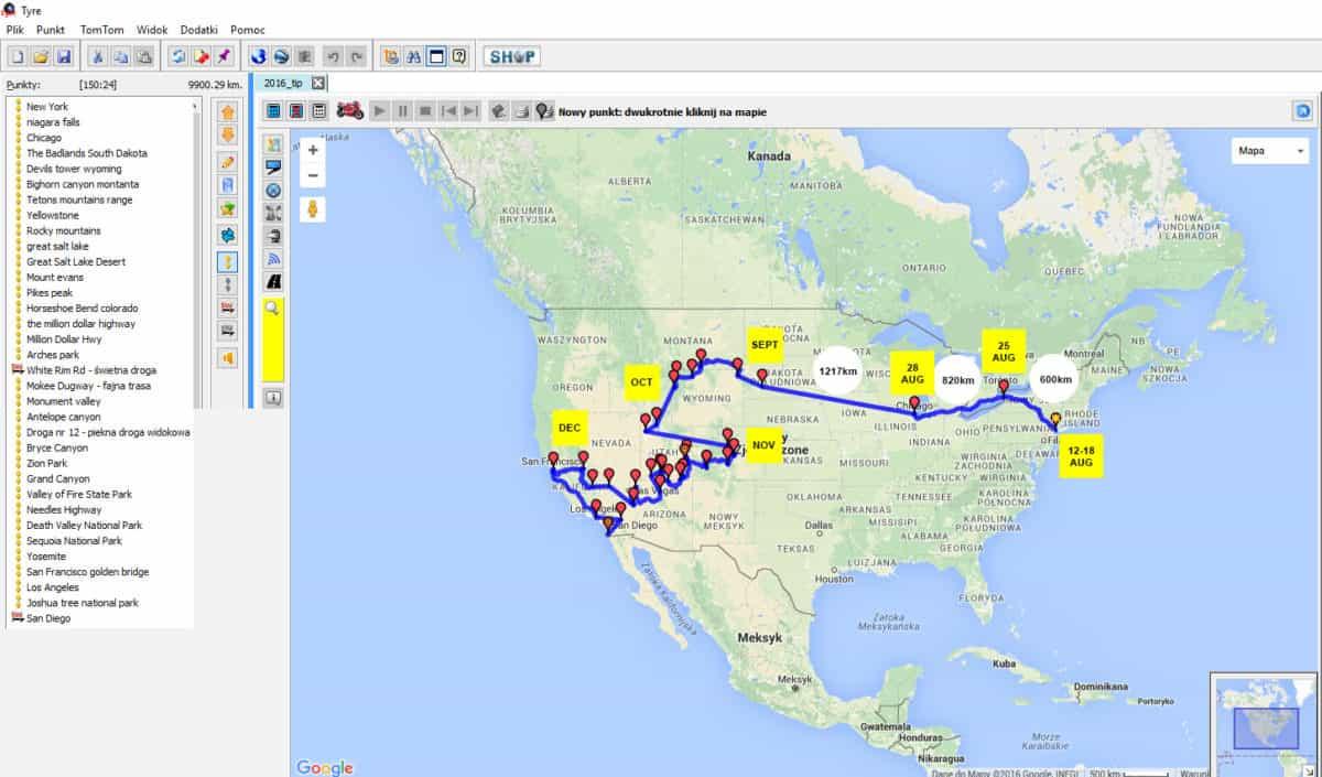 Trasa motocyklem przez USA w TyreToTravel