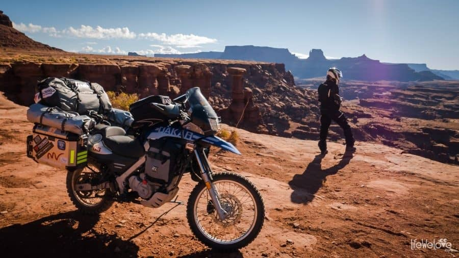 Through Canyonlands on motorbike