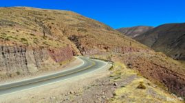 Road from Purmamarca to Salinas Grandes in Argentina